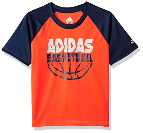 Basketball T-shirt Shorts - adidas Boys' Big Short Sleeve Graphic Tee Shirts, Basketball Solar Red, Medium
