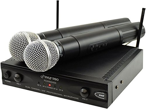 Pyle-Pro Pdwm2400 Wireless Dual Channel Uhf Microphone System with 2 Microphones Sound Around