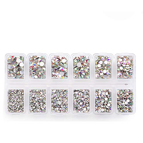 - 4200 Pieces Flat Back AB Rhinestones for Craft, Round Crystal Gems Stickers for Clothes, 1.5 mm - 4.8 mm, 6 Sizes