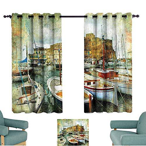 HCCJLCKS Decor Curtains Marine Naples Small Boats at Historical Italian Coast with Heritage Castle Nautical Artwork Bedroom Balcony Living Room W55 xL63 Multicolor