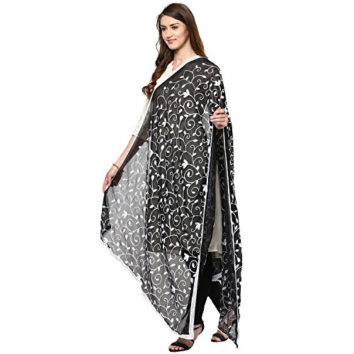 Dupatta Bazaar Woman's Embroidered White on Black Chiffon  Chunni,Dupatta, Stole with Lace Border
