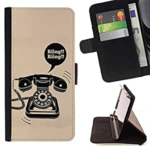 Momo Phone Case / Flip Funda de Cuero Case Cover - Anello rotante Vintage Phone fisso poster - Huawei Ascend P8 (Not for P8 Lite)