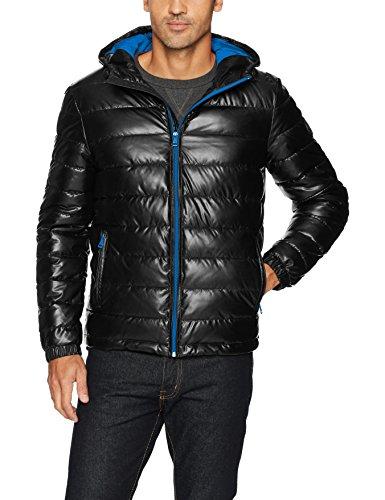 Jacket Faux Large Blue Leather XX Black Hooded Cole Haan Men's Signature ITZwnqTpYS