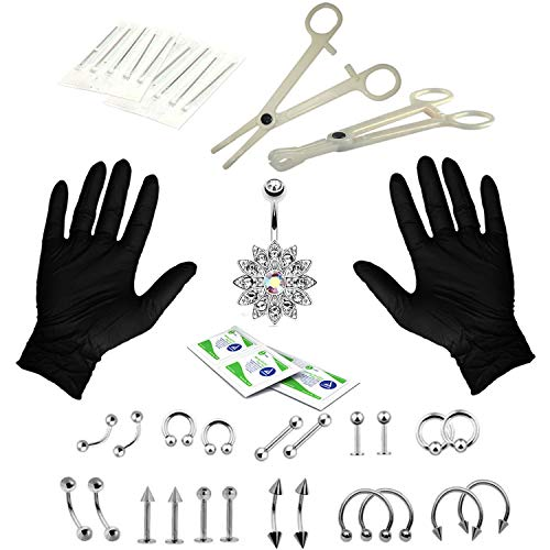 Chris.W 41Pcs Professional Body Piercing Kit 14G 16G Steel Belly Ring Tongue Tragus Nipple Lip Nose Piercing Jewelry - Needles, Gloves Tools Included