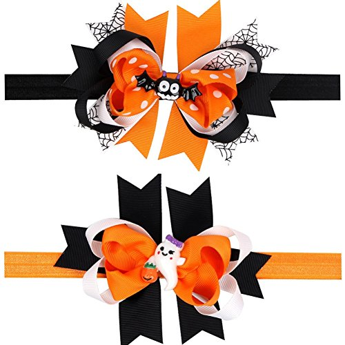 Looching pack of 2 Halloween Layered Pumpkin Bowknot Costume Hair Bow Headband for Baby Toddler Girls Newborn and Infant Headbands -