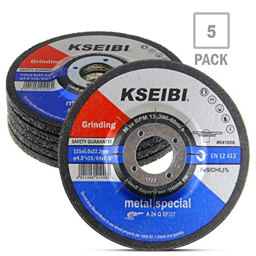 KSEIBI 641006 4-1/2-Inch by 1/4-Inch Metal Stainless Steel Inox Grinding Disc Depressed Center Grind Wheel, 7/8-Inch Arbor, 5-Pack
