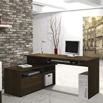 Bestar Modula L-shaped Workstation in Northern Maple & White 90426-1138