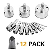 12PCS Hole Saw Kit - Hollow Core Diamond Drill Bits Extractor Remover Tools For Glass/Porcelain/Ceramic Tile + Carrying Case