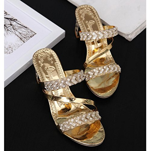 AmazingDays Femme Sandales Chaussures Cheville Mode Pantoufles Strass Femmes Mode Open Toe Chaussures BohèMe Talons Talon Chaussure Gold 57MRPs