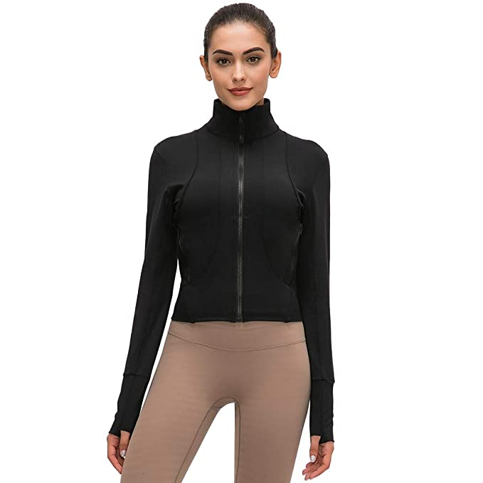 TERODACO Womens Slim Fit Full Zip Yoga Red Collar Jackets for Workout Running Hiking