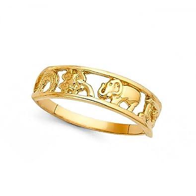 14 K Amarillo Oro Herradura trébol 13 anillo de elefante buena suerte encanto banda Fancy Lucky símbolos 5 mm: Amazon.es: Joyería