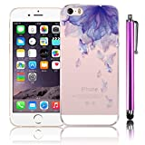 iPhone 5S Case, Bonice Apple iPhone SE Case Bumper TPU Cover [Flower Series] Shock-Absorption Bumper and Anti-Scratch Clear Back for iPhone 5/5S/SE + Metal Stylus Pen - Purple Petals
