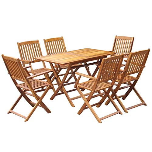 (Galapara 7 Piece Outdoor Wood Folding Dining Set, Patio Garden Wood Furniture Set with Umbrella Hole, Weather Resistance, Solid Eucalyptus Wood)