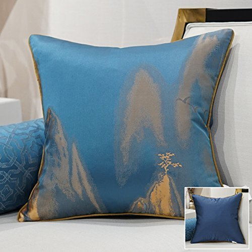 HOMEE a New Modern Chinese Chip-Pillow Sofa Pillow Back Lumbar Pillow Cushion Large Armful Pillows ,45X45Cm, Kit 3 Diagonal Blue,Lone wild swan blue,50X50cm