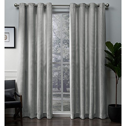 Exclusive Home Winfield Heavyweight Metallic Sheen Treatment Basketweave Window Curtain Panel Pair with Grommet Top, 54×108, Silver, 2 Piece