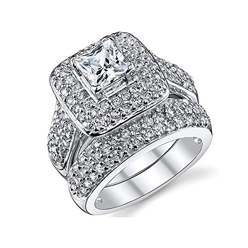Gorgeous Promise Wedding Ring 2 Piece Sets Engagement Bridal Band White Gold Plated (9) ()