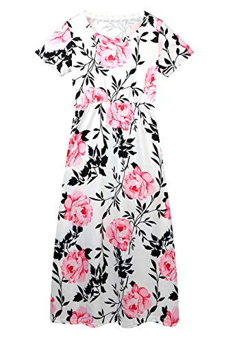 QIJOVO Girl Floral Maxi Dress with Pockets Sleeves Long Holiday Dress
