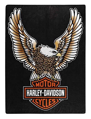 Harley-Davidson Fly High Large Raschel Throw Blanket, 60 x 80 inch ()