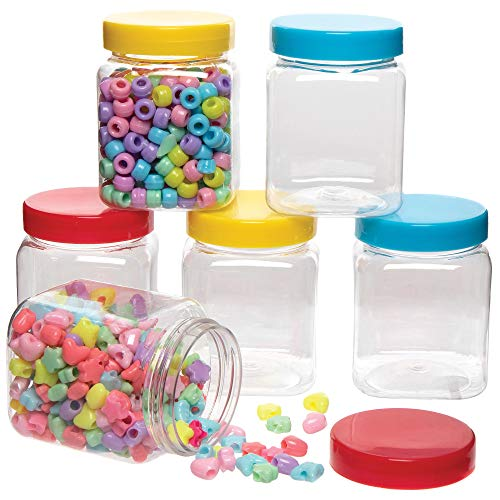 Baker Ross AX111 Storage Jars – Pack of 6, With Coloured Lids, For Kids Arts and Crafts Projects
