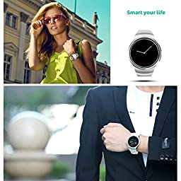 Bluetooth Smart Watch,Evershop 1.3 inches IPS Round Touch Screen Water Resistant Smartwatch Phone with SIM Card Slot,Sleep Monitor,Heart Rate Monitor and Pedometer for IOS and Android Device (White)