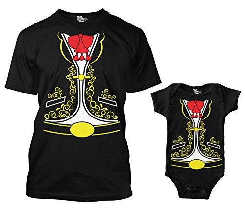 Mariachi Costume Matching Bodysuit & Men's T-Shirt (Black/Black,