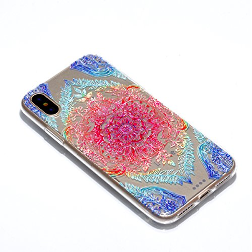 Funda iPhone X, Transparente TPU (Cristal) Patrón creativo de dibujos animados resistente a los golpes ultrafino Carcasa Crystal Case Antideslizante Rasguño Resistente Delgado Silicona Case Cover para image-20
