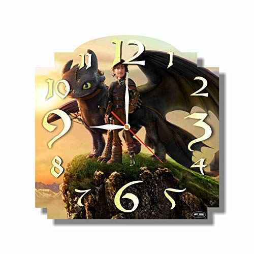 Art time production How to Train Your Dragon 11.4'' Handmade Wall Clock (Acrylic Glass) - Get Unique décor for Home or Office - Best Gift Ideas for Kids, Friends, Parents and Your Soul Mates (Art Glass Train)