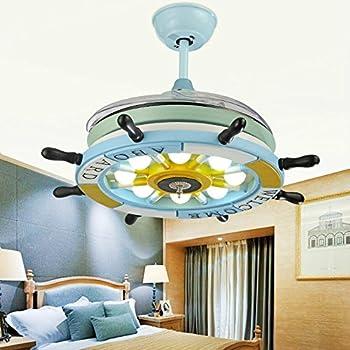 Lighting Groups 42 Inch Blue Ceiling Fan Lights Pirate Ship Steering Wheel Led Fan Chandelier
