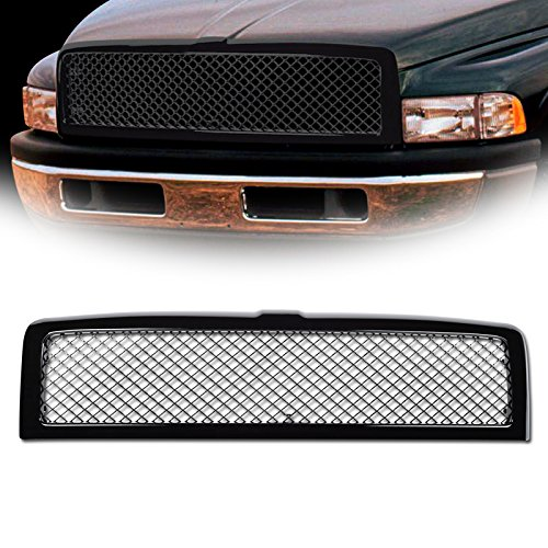 1 Dodge Ram 1500 ; for 1994-2002 2500/3500 - Glossy Black Mesh Front Hood Bumper Grill Grille Kit Cover Guard Replacement Conversion ABS ()