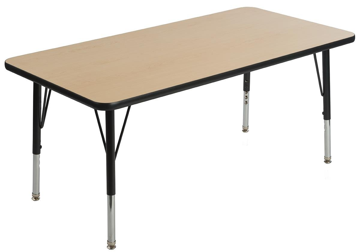 Displays2go, Rectangular Activity Tables, Steel, Laminated Particle Board, Melamine – Maple Finish, Black (LCK2448MPT)
