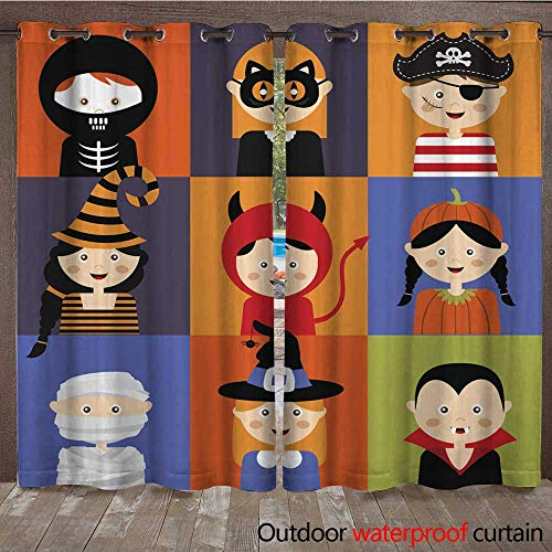 RenteriaDecor Home Patio Outdoor Curtain Happy Halloween Set of Cute Cartoon Children in Colorful Costumes W108 x L84 ()