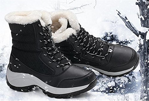 Warm Ankle Snow HAPPYLIVE Toe Round SHOPPING Winter Women's Rain Boots Waterproof Heel Black Wedge Fur High Comfort 86qw78rx