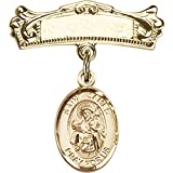 14kt Yellow Gold Baby Badge with St. James the Greater Charm and Arched Polished Badge Pin 7/8 X 3/4 inches