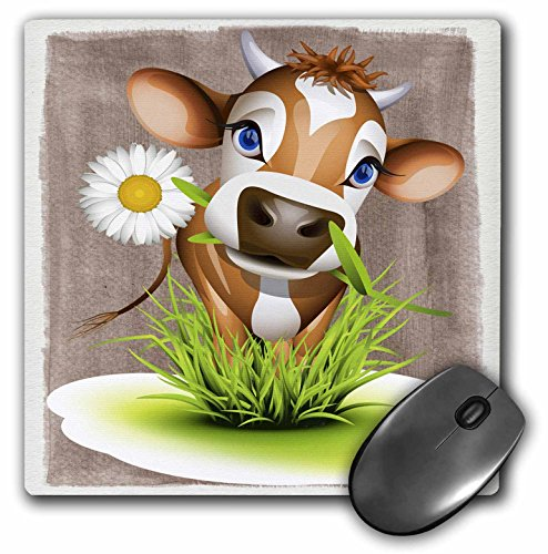 3dRose LLC 8 x 8 x 0.25 Inches Mouse Pad, Jersey Cow in Grass (mp_110913_1)