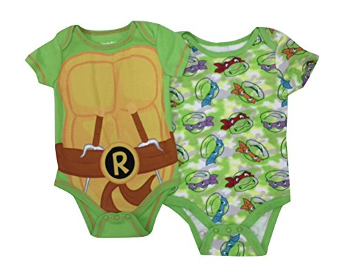 TMNT Ninja Turtles Shield Baby 2 Pack Bodysuit Set 0-9 Months (6/9 Months) Green]()