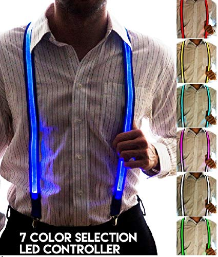 (Neon Nightlife Men's Light Up LED Suspenders, 7 Color Selection LED Battery Pack, One)