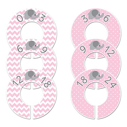 Closet Doodles C39 Pink Elephant Baby Girl Clothing Dividers Set of 6 Fits 1.25
