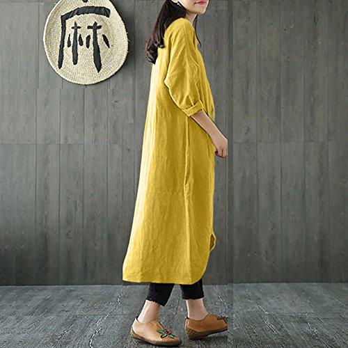 Robe Grande Femme Taille Jupe Section Manches Chemise Coton de Plage Femme Jaune en pour bohme Robe Longues Automne rtro Longue qTBp067w