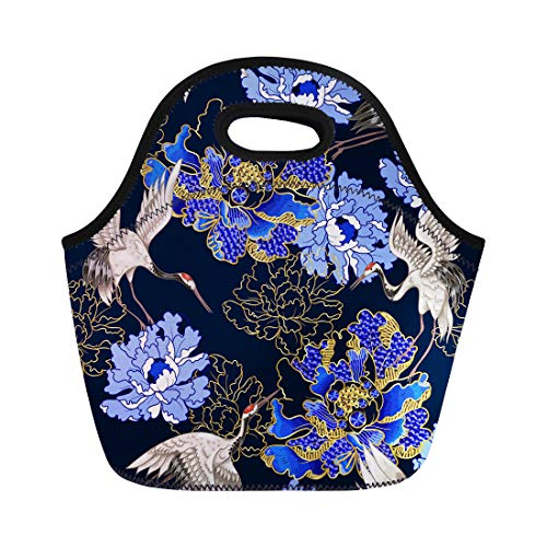 (Semtomn Lunch Tote Bag Red Asian Japanese White Cranes and Peony Embroidered Sequins Reusable Neoprene Insulated Thermal Outdoor Picnic Lunchbox for Men Women)
