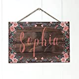 Cheap Artblox Personalized Name Rustic Nursery Room Wood Sign Home Decor – Vintage Custom Name & Flowers, Premium Pine Wood Farmhouse Style Wooden Wall Art Country Pallet Plaque 8×12 – Brown