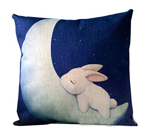 Cartoon Animals Lovely Rabbit Bunny Sleeps On The Crescent M
