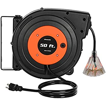 14AWG//3C SJTOW Giraffe Retractable Extension Cord Reel Triple Tap with LED Lighted Connector 50+4.5ft