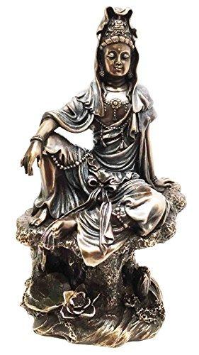 - Ebros The Water And Moon Goddess Kuan Yin Bodhisattva Statue In Bronze Finish Resin 7