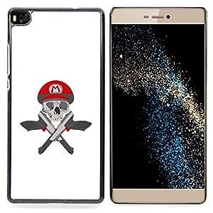 - M Guns Game Pistols Skull White/ Duro Snap en el tel????fono celular de la cubierta - Cao - For HUAWEI P8