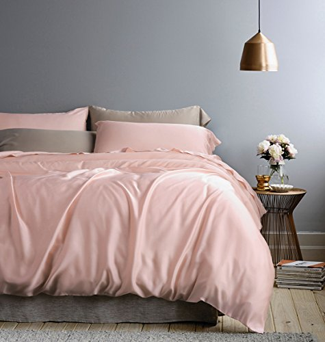 Eikei Solid Color Egyptian Cotton Duvet Cover Luxury Bedding Set High Thread Count Long Staple Sateen Weave Silky Soft Breathable Pima Quality Bed Linen (King, Rose Gold)