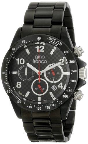 Gino franco 9688BK Rogue - Reloj de pulsera con cronógrafo redondo, negro y chapado en iones, para hombre
