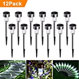 #10: Sunnest Solar Garden Lights Outdoor 12Pack Stainless Steel Solar Pathway Lights, Outdoor Landscape Lighting for Lawn/Patio/Yard/Walkway/Driveway SG-T9285