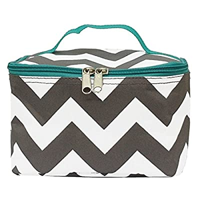 on sale Grey and White Chevron Print Small Cosmetic Bag (aquablue ... 6530d67a55