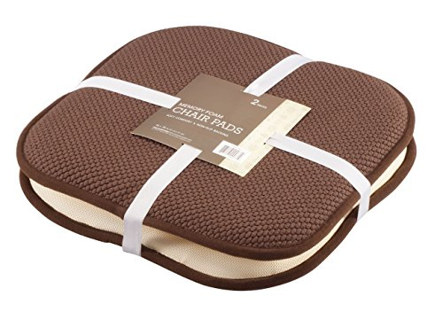 GoodGram 2 Pack Non Slip Ultra Comfort Memory Foam Chair Pads - Assorted Colors (Chocolate) ()
