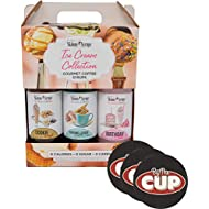 Jordan's Skinny Syrups Sugar Free Ice Cream Collection Trio Gift Box 12.7 Ounce Bottles with By The Cup Coasters